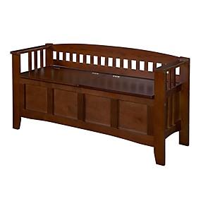 cheap Accent Furniture-split seat storage accent bench in walnut wood finish