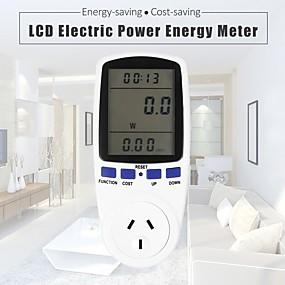 voordelige Super Korting-digitale energiemeter socket plug-in elektrische energiemeter energiemonitor lcd-scherm eu / uk / us plug witte achtergrondverlichting