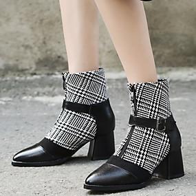 billige Mote Boots-Dame Sateng Høst vinter Klassisk / Britisk Støvler Tykk hæl Spisstå Støvletter Blondesøm Svart / Blå / Stripet