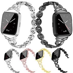 povoljno Smartwatch bendovi-sat bend za fitbit versa fitbit nakit dizajn od nehrđajućeg čelika ručni remen metal podesiva legura zamjena manšeta