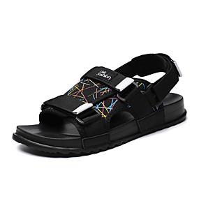 baratos Sandálias Masculinas-Homens Sapatos Confortáveis Lona / Couro Envernizado Primavera Verão Casual Sandálias Respirável Preto / Luminoso / Fúcsia / Ao ar livre