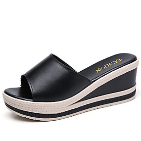 b2a41eca8dc1 Women's Cowhide Spring & Fall / Summer Classic / Vintage Slippers &  Flip-Flops Walking Shoes Wedge Heel Open Toe White / Black / Slogan