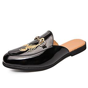 baratos Tamancos Masculinos-Homens Sapatos Confortáveis Couro Primavera Verão / Outono & inverno Casual Tamancos e Mules Respirável Branco / Preto