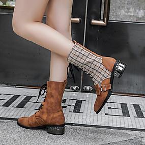 billige Mote Boots-Dame Støvler Tykk hæl Rund Tå Spenne PU Støvletter Vintage Høst vinter Svart / Brun
