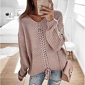 cheap US Explore Autumn Low-Key luxe-Women's Solid Colored Long Sleeve Pullover, V Neck Blushing Pink / Navy Blue / Gray XL / XXL / XXXL