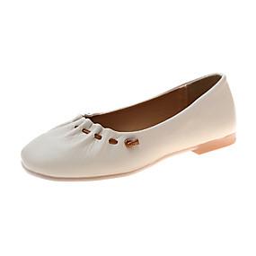 povoljno Udobne cipele-Žene Ravne cipele Ravna potpetica PU Ljeto Crn / Bež / Pink