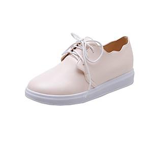 voordelige Damessneakers-Dames Sneakers Sportieve look Platte hak Ronde Teen Imitatieleer Informeel / Zoet Hardlopen / Wandelen Herfst / Lente zomer Zwart / Amandel / Beige