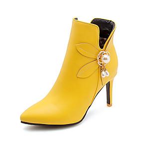 billige Mote Boots-Dame Støvler Stiletthæl Spisstå PU Ankelstøvler Forretning / Britisk Høst vinter Svart / Hvit / Gul / Fest / aften