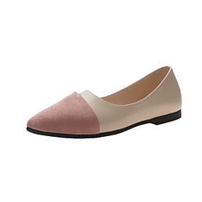 voordelige Damesschoenen met platte hak-Dames Platte schoenen Lage hak Gepuntte Teen Microvezel Klassiek / Brits Lente & Herfst Zwart / Roze / Khaki