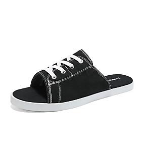 baratos Sandálias e Chinelos Masculinos-Homens Sapatos Confortáveis Lona Verão Casual Chinelos e flip-flops Caminhada Respirável Botas Cano Médio Preto