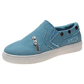 voordelige Damessneakers-Dames Sneakers Platte hak Ronde Teen Siernagel Canvas Informeel / minimalisme Hardlopen / Wandelen Lente & Herfst / Winter Zwart / Blauw / Roze