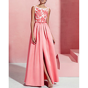 cheap Clearance-A-Line Boat Neck Floor Length Lace / Satin Formal Evening Dress with Split Front / Lace Insert by LAN TING Express