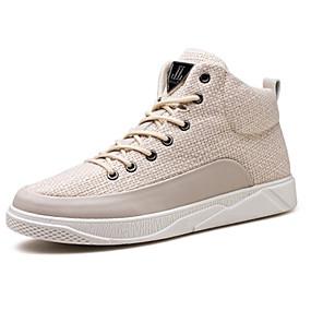 baratos Tênis Masculino-Homens Sapatos Confortáveis Algodão / Linho Outono / Primavera Verão Tênis Preto / Bege