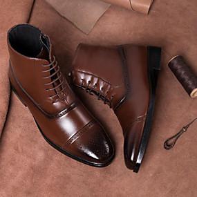 baratos Botas Masculinas-Homens Fashion Boots Couro Ecológico Verão / Outono & inverno Botas Botas Cano Médio Preto / Amarelo / Castanho Escuro