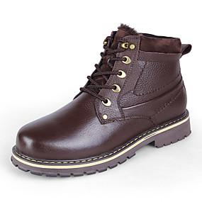 baratos Botas Masculinas-Homens Sapatos de couro Pele Napa Inverno Clássico / Casual Botas Caminhada Manter Quente Botas Curtas / Ankle Castanho Claro / Castanho Escuro / Khaki