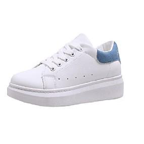 voordelige Damessneakers-Dames Sneakers Platte hak PU minimalisme Lente zomer Zwart / Blauw