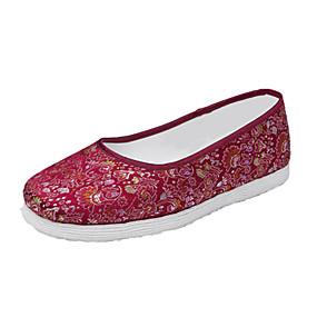 voordelige Damesinstappers & loafers-Dames Loafers & Slip-Ons Platte hak Ronde Teen Elastische stof Vintage Zomer Zwart / Paars / Rood