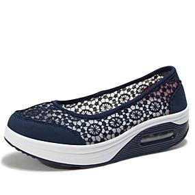voordelige Damessneakers-Dames Sneakers Platte hak Ronde Teen Netstof Zomer Zwart / Licht Grijs / Rood