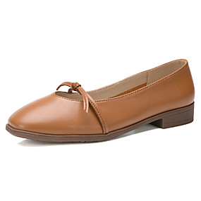 voordelige Damesschoenen met platte hak-Dames Platte schoenen Platte hak Vierkante Teen PU Informeel Wandelen Zomer Beige / Bruin / Roze
