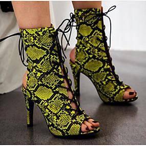 abordables Bottes Tendance-Femme Bottes Stiletto Heel Boots Talon Aiguille Polyuréthane Bottine / Demi Botte Eté Jaune / Vert / Léopard