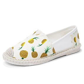 voordelige Damesinstappers & loafers-Dames Loafers & Slip-Ons Platte hak Open teen Canvas Studentikoos Wandelen Zomer Wit / Geel / Rood