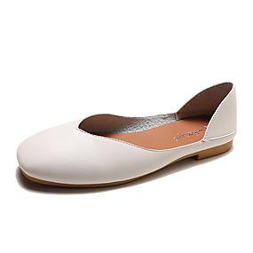 povoljno Udobne cipele-Žene Ravne cipele Ravna potpetica PU Ljeto Crn / Bež