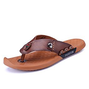 baratos Sandálias e Chinelos Masculinos-Homens Sapatos Confortáveis Pele Napa Verão Chinelos e flip-flops Caminhada Respirável Marron / Castanho Escuro