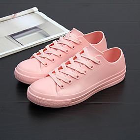 voordelige Damessneakers-Dames Sneakers Platte hak Ronde Teen PVC Informeel Zomer Zwart / Wit / Roze