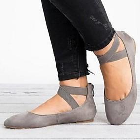 voordelige Damesschoenen met platte hak-Dames Platte schoenen Platte hak PU Lente Beige / Grijs / Bruin