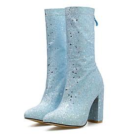 billige Mote Boots-Dame Støvler Tykk hæl Spisstå Paljett Mikrofiber Støvletter Sommer Sølv