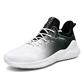 baratos Sapatos Esportivos Masculinos-Homens Sapatos Confortáveis Lona / Couro Envernizado Primavera Verão Esportivo Tênis Corrida / Fitness Respirável Branco / Preto