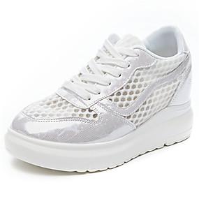 voordelige Damessneakers-Dames Sneakers Platte hak Ronde Teen Netstof Zomer Wit