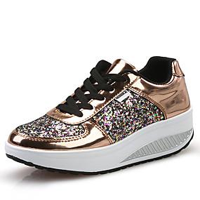 voordelige Damessneakers-Dames Sneakers Sleehak Ronde Teen Lakleer / PU Informeel / Studentikoos Lente zomer Wit / Goud / Zilver