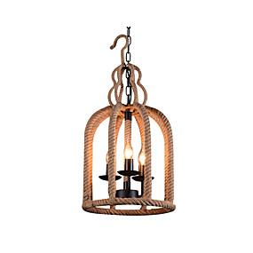 billige Hengelamper-hamp tau anheng lampe innendørs deco lys lysekroner 3 lys fugl bur skygge spisebord kjøkken øyelys hengende kjede justerbar