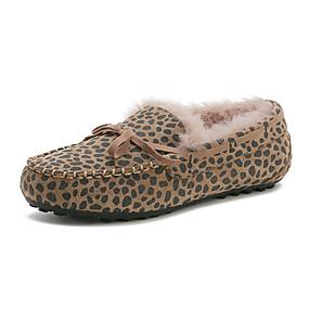 voordelige Damesinstappers & loafers-Dames Loafers & Slip-Ons Platte hak Leer Winter Zwart / Luipaard