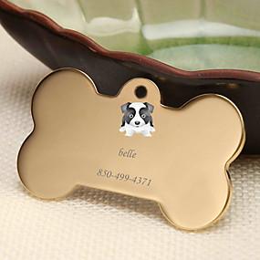 hesapli Kazınmış Evcil Hayvan Aksesuarları-Kişiselleştirilmiş Özelleştirilmiş Sınır Collie Evcil Hayvan Etiketleri Klasik Hediye Günlük 1pcs Altın Gümüş Gül Altın