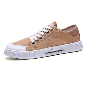 baratos Tênis Masculino-Homens Sapatos Confortáveis Lona Verão Casual Tênis Não escorregar Preto / Branco / Khaki