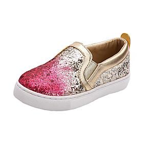voordelige Damesinstappers & loafers-Dames Loafers & Slip-Ons Platte hak Ronde Teen Pailletten Microvezel Informeel Zomer Goud / Blauw / Kleurenblok