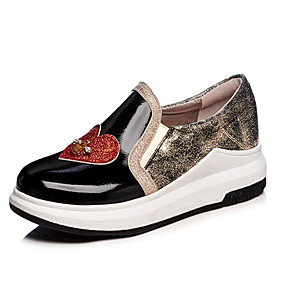 voordelige Damesinstappers & loafers-Dames Loafers & Slip-Ons Creepers Ronde Teen PU Informeel Lente zomer Zwart / Zilver