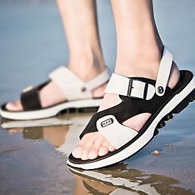 baratos Sandálias Masculinas-Homens Sapatos Confortáveis Couro Ecológico Verão Sandálias Respirável Preto / Marron