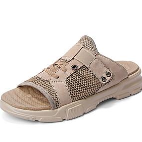baratos Sandálias e Chinelos Masculinos-Homens Sapatos Confortáveis Com Transparência Verão Chinelos e flip-flops Respirável Preto / Bege / Cinzento