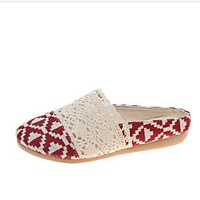 voordelige Damesinstappers & loafers-Dames Loafers & Slip-Ons Platte hak Ronde Teen Linnen / PU Lente zomer Zwart / Rood / Beige