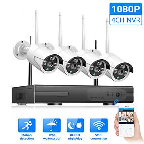 billige Sikkerhetssystemer-trådløst kamerasett nvr wifi kit nettverk ip kameraopptaker h.265 4ch 720p (1280 * 720) cctv-system (kontinuerlig / bevegelsesdeteksjon / manuell opptak dag natt ekstern visning vanntett)