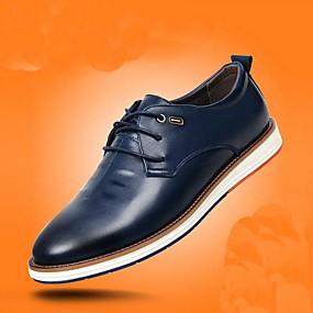 baratos Oxfords Masculinos-Homens Sapatos Confortáveis Couro Ecológico Outono Oxfords Preto / Marron / Azul Escuro