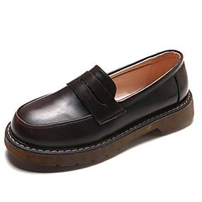 voordelige Damesinstappers & loafers-Dames Loafers & Slip-Ons Blok hiel Ronde Teen PU Herfst Zwart / Bruin