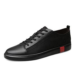 baratos Tênis Masculino-Homens Sapatos de couro Pele Napa Primavera / Outono Clássico / Casual Tênis Respirável Preto / Branco / Marron