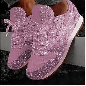 voordelige Damessneakers-Dames Sneakers Verborgen hiel Ronde Teen Pailletten Netstof Zomer Zilver / Roze
