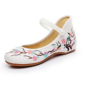 voordelige Damesschoenen met platte hak-Dames Platte schoenen Platte hak Ronde Teen Canvas Zomer Wit / Rood / Blauw