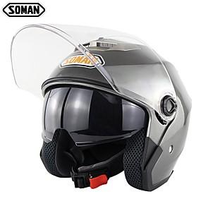 billige Nyankomne i august-soman dobbeltvisir motorsykkelhjelm unisex motorsykkel sykkelhjelm elektrisk motorhette sm517