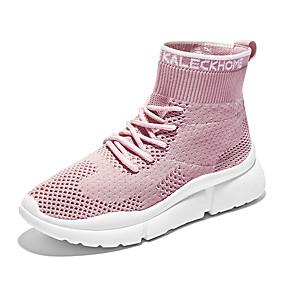 billige Sneakers til damer-Dame Treningssko Flat hæl Rund Tå Netting Fritid / minimalisme Vår & Vinter Svart / Rosa / Beige
